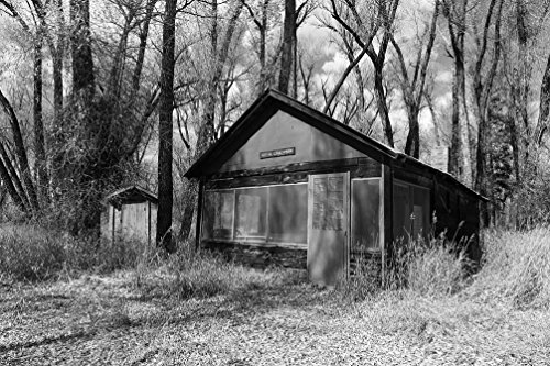 24 x 36 B&W Giclee Print Outhouse Cabin, Rented Fishermen Women at The Sheriff Ranch at The headwaters The Colorado River Near Hot Sulphur Springs in Grand County, 2015 Highsmith 80a