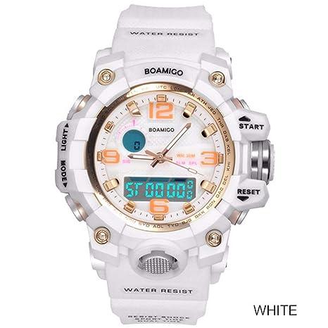 WMWMY Ver Señoras Relojes Deportivos Moda Señoras Reloj De Cuarzo Blanco Shock Reloj Digital De Natación