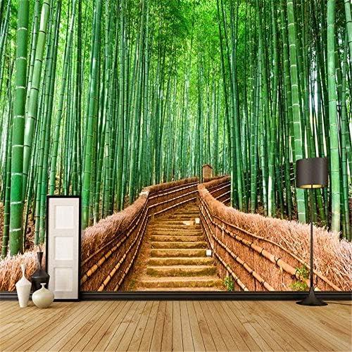 カスタム壁画壁紙3D中華風グリーン竹トレイル自然風景写真リビングルームダイニングルーム寝室の背景家の装飾壁紙-200x140cm