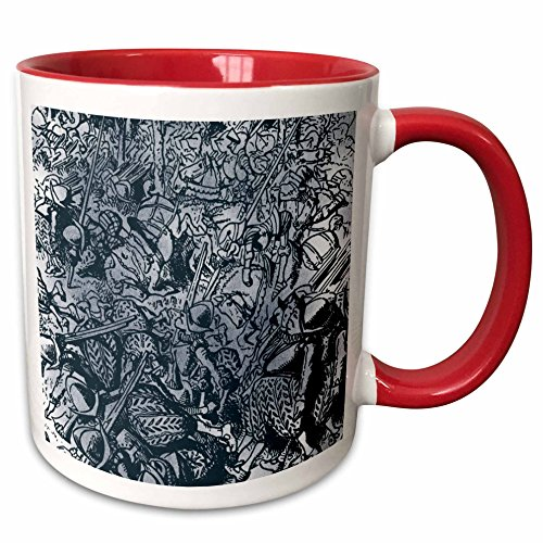 3dRose PS Vintage - All the Kings Horses and All the Kings Men Vintage - 15oz Two-Tone Red Mug (mug_110217_10)