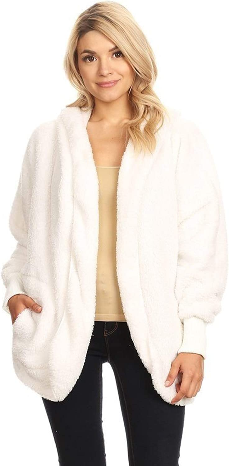 T Party Womens Faux Shearling Jacket with Hood Open Front and Waist Pockets Long Sleeves