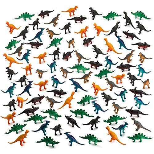 Kicko 96 Pieces Mini Vinyl Dinosaur Set 2-inch - Animal Action Figures Assortment Toy for Kids, Play, Decoration, Gift, Prize, Party ()