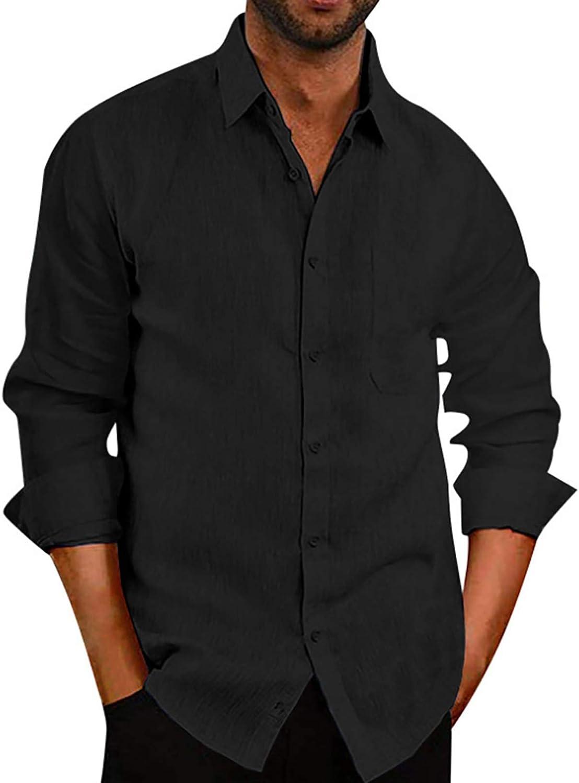 VANVENE Mens Casual Linen Long-Sleeved Shirt Slim Buttoned Lapel Top