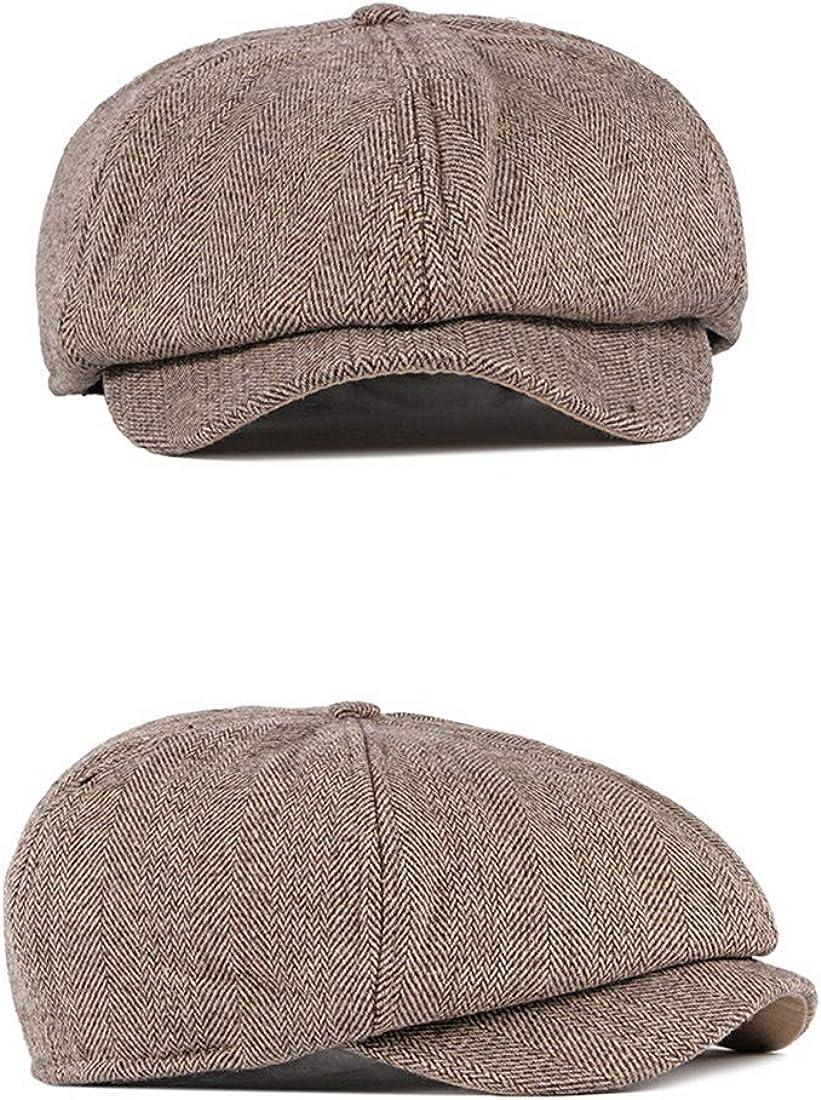 Charmylo Newsboy Hat Boinas Gorra Gatsby Baker Boy Sombrero Gorras Planas Tweed Ajustable Peaky Herringbone Cloth Cap