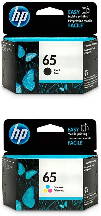 HP 65 | 2 Ink Cartridges | Black, Tri-Color | N9K01AN, N9K02AN | Bundle