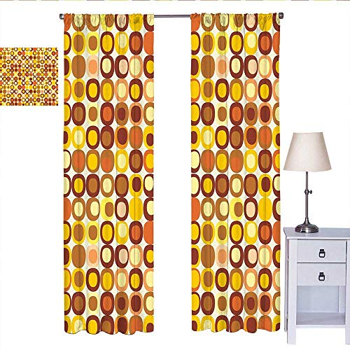 W Machine Sky Mid Century Curtains for Living Room Kitsch and Retro Styled Round Edged Square Pattern in Old Earth Tones Drapes Panels Brown Yellow Coral W84 x L84