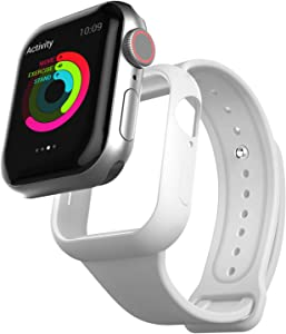pzoz Compatible Apple Watch Series 6 /5 /4 /SE 44mm Case with Strap Band Accessories Protective Bumper Full Coverage Matte Silicone Cover Defense Edge for Women Men New Gen GPS iWatch (White)