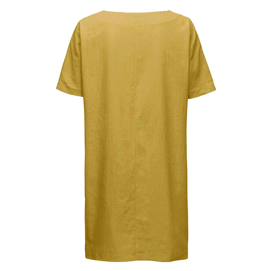 BAOHOKE Womens Casual Baggy Pocket Blouses for Women.Simple Fashion Short Sleeve Mini Dress
