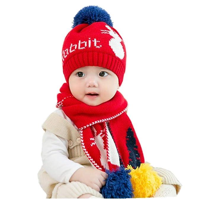 2Pcs Bébé Garçon Tricot pour fille chapeau d/'hiver bébé garçon chaud Beanie Crochet Bonnet écharpe