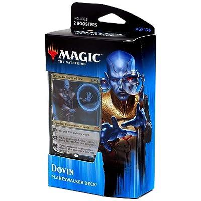 Magic The Gathering: MTG: Ravnica Allegiance Planeswalker Deck - Dovin (Blue/White) w/Two Booster Packs: Toys & Games