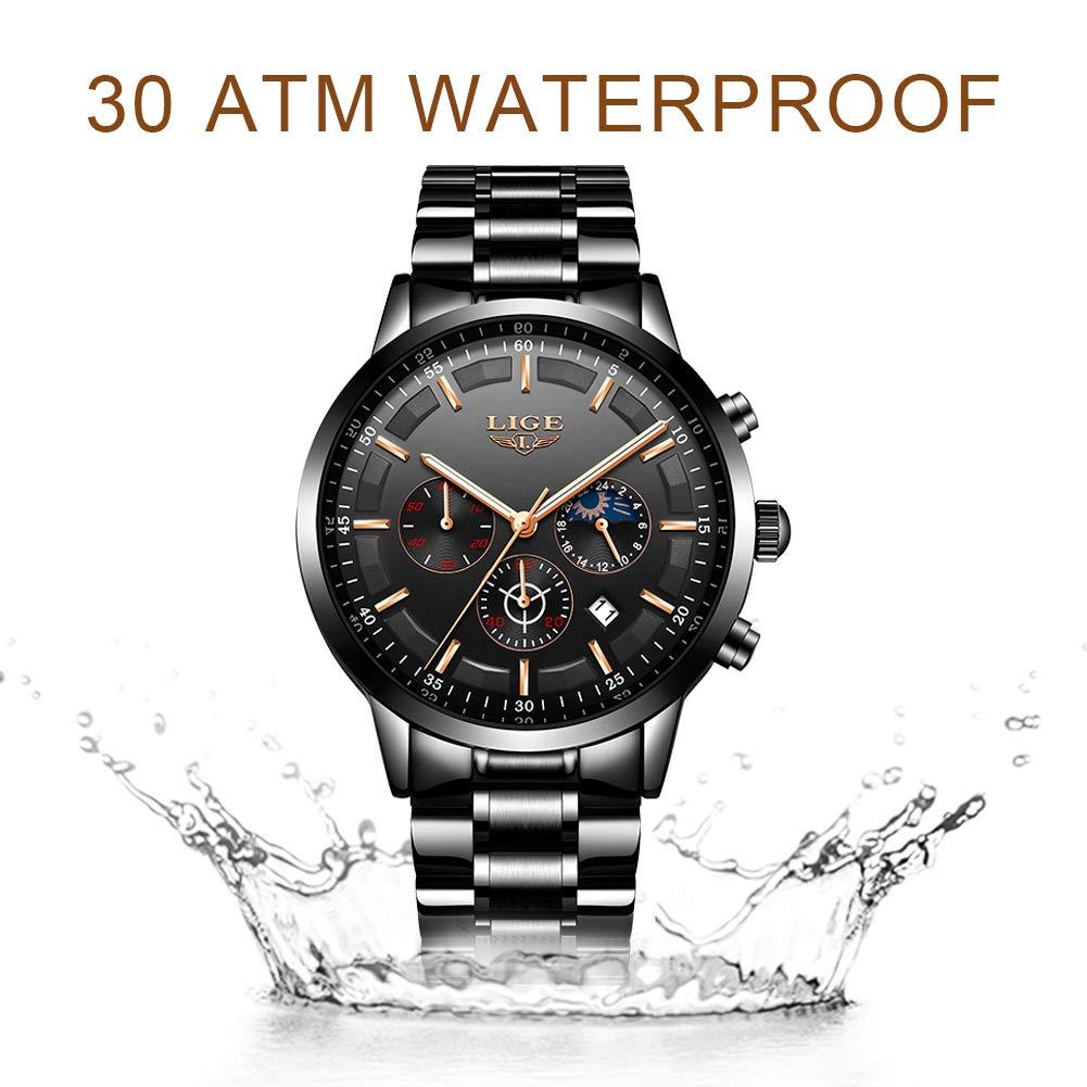 Amazon.com: LIGE - Reloj de pulsera para hombre de acero ...