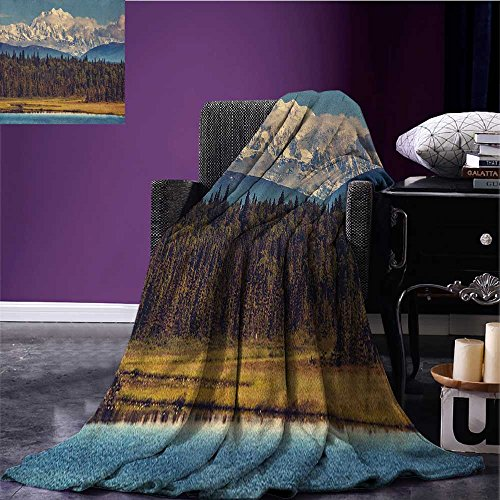 Alaska wearable blanket Colorful Summer Season in Northwest America Snow White Mountains River Fresh Forest security blanket Multicolor size:51
