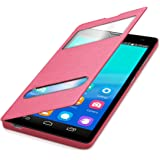kwmobile Funda potectora práctica y chic FLIP COVER para Huawei Honor 3C en rosa fucsia