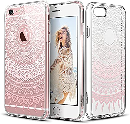 promo code 73c47 134b5 iPhone 6 Plus / 6S Plus Case, ESR Henna Mandala Floral Designer Hard Shell  Case [Clear Back Cover, Slim Fit, TPU Border] Flowers Printed Thin Cute ...