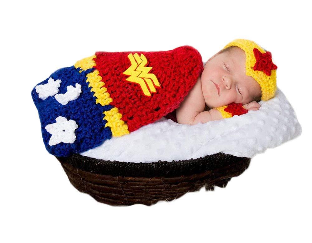 3PCS Infant Newborn Baby Girl Crochet Costume Outfits Photography Props Wonder Woman Headband+Wrist Guard+Cloak 0-6 Months