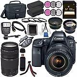 Canon EOS 6D Mark II DSLR Camera with 24-105mm f/4 Lens 1897C009 + Canon EF 75-300mm III Lens + LPE-6 Lithium Ion Battery + 128GB SDXC Card + Canon 100ES EOS shoulder bag + Tripod + Flash Bundle