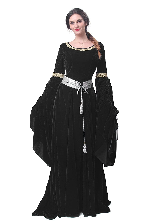 53024705c3 ... Medieval Black Velvet Long Trumpet Sleeve Gown - DeluxeAdultCostumes.com