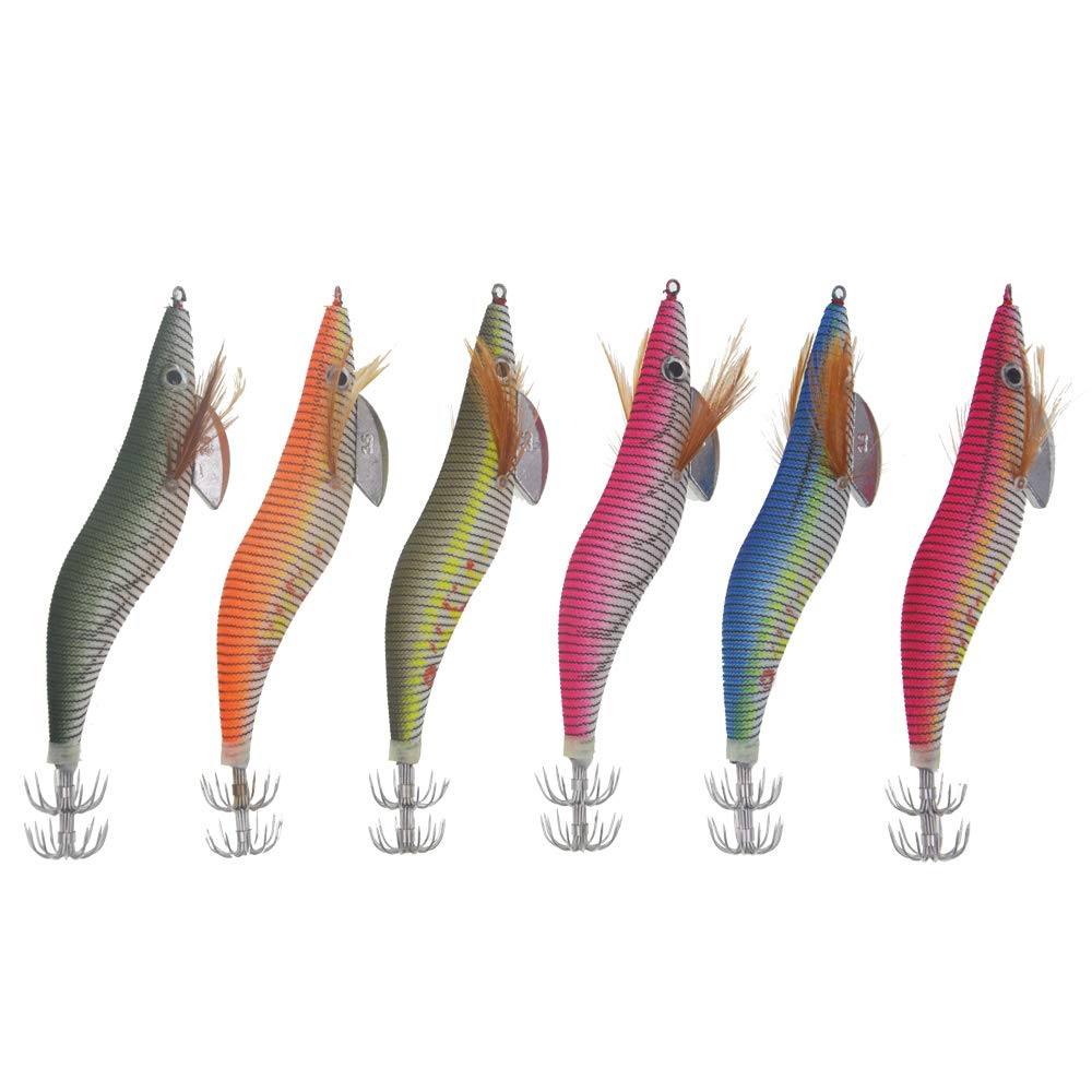 Esche Artificiali 6pcs Gambero Luminoso Calamari Polpi Jig Esche con Ganci a Doppio Strato per Pesca di Notte Esca Morbida con Amo Esche da calamaro Kit