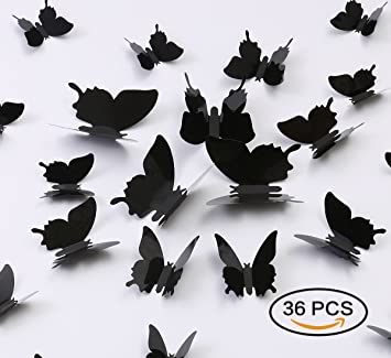 Kakuu 36PCS Butterfly Wall Decals   3D Butterflies Wall Stickers Removable  Mural Decor Wall Stickers Decals