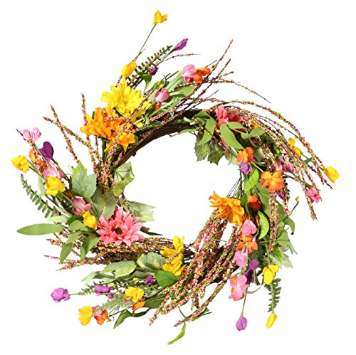 24 Inch Mixed Gerbera Daisy Artificial Spring Wreath on a Natural Twig (Natural Twig Base)