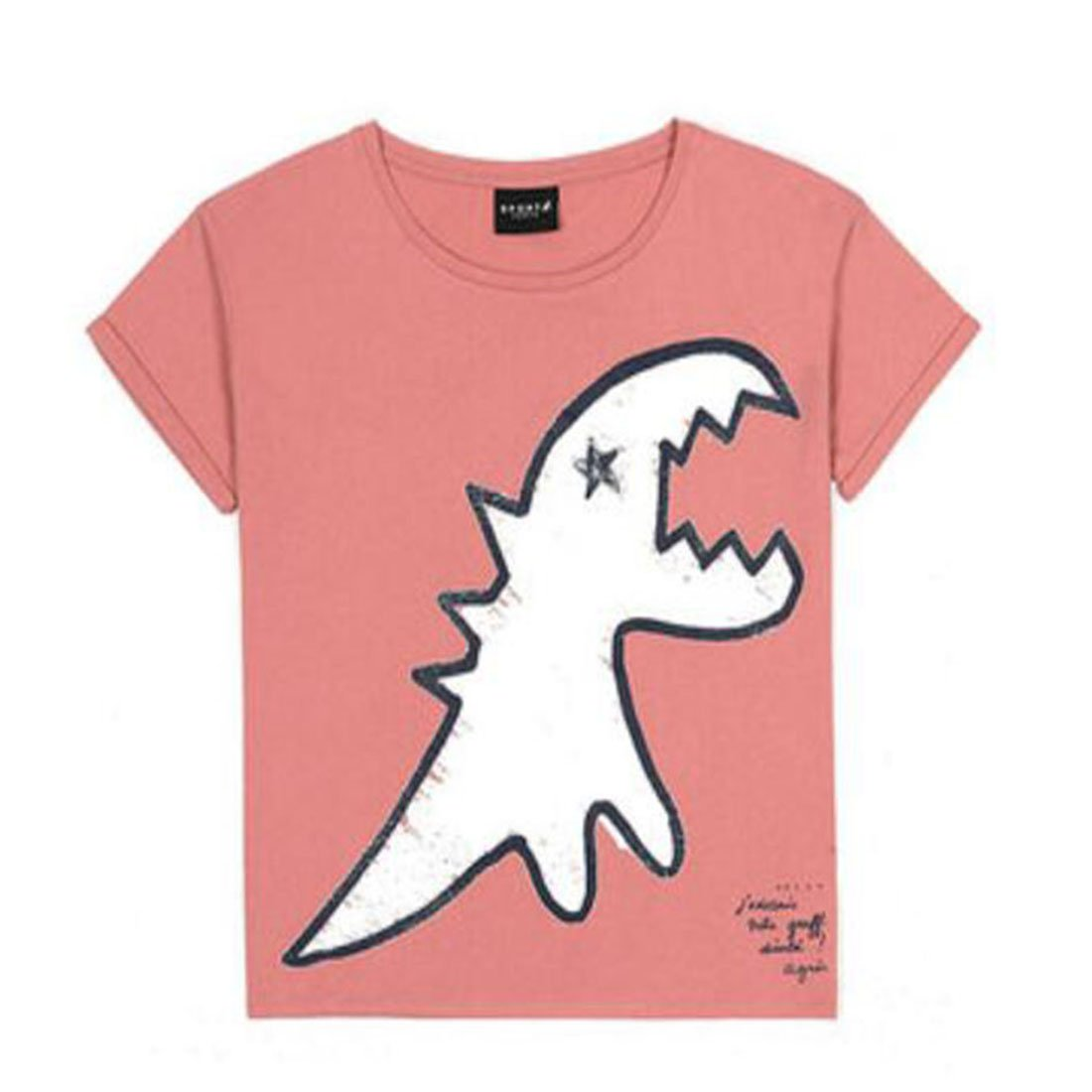 SPORT B.アニエスベー レディース Tシャツ 半袖 カットソー ロゴTシャツ HOMME コットン100%  agnes b. 黒 白 ショップバッグ付き B07CR645PG S ピンク ピンク S
