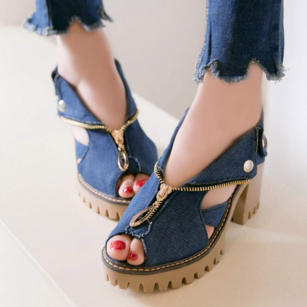 Midress Womens Cuffed Denim High Heel Sandals Thick Platform Fish Mouth Casual Shoes Cut Out Flats Slip On Bootie