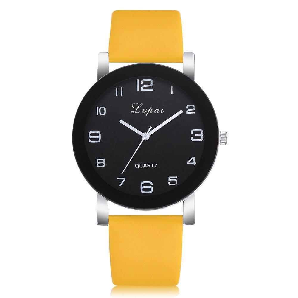 Lady Watch,Women's Casual Quartz Leather Band Watch Analog Wrist Watch,Sports Fan Jewelry Watches,Yellow
