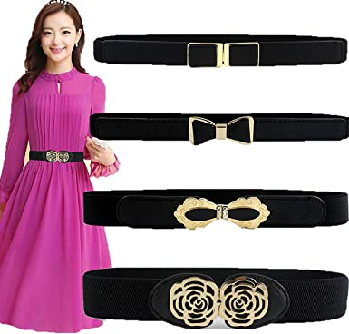 Ladies Women Stretch Buckle Waist Belt Vintage Elastic Skinny Dress Waist Bands