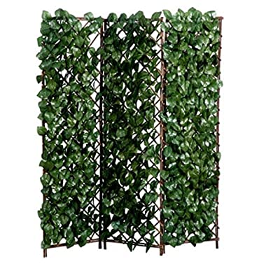 Faux Ivy/Wood Folding Screen - 59 Inches Tall