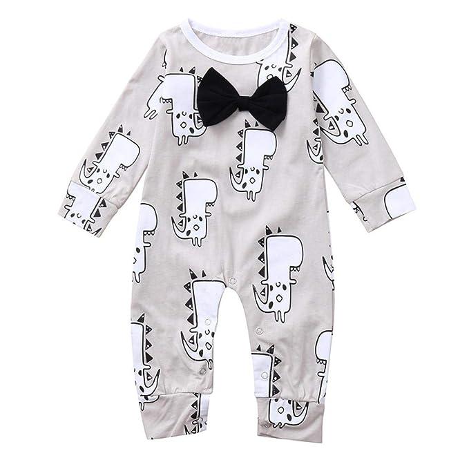 QinMM Mono de Bowknot para bebé niña y niño, Peleles Manga Larga para la Blusa de Primavera de otoño Pijama Camisa Body: Amazon.es: Ropa y accesorios