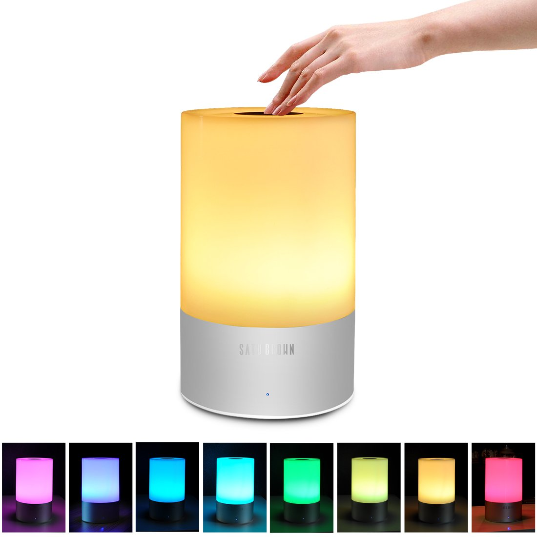 Touch Sensor Bedside Lamp, Satu Brown Smart LED Table Lamp Night Light Desk Lamps Portable Atmosphere Lighting, Dimmable Warm White Lights and Color Changing RGB