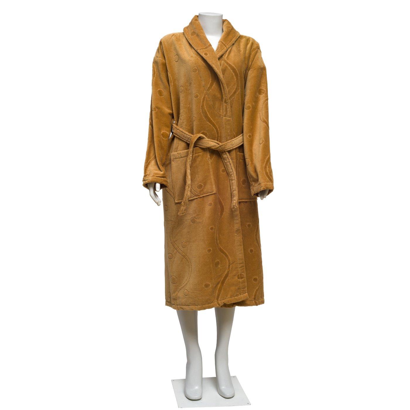 100% Turkish Cotton Velvet Extra Plush Bathrobe Set, Large Bath Towel, Hair Towel Unisex Terry Bathrobe Set - Moisture Wicking and Odor Resistant (Light Coffee)