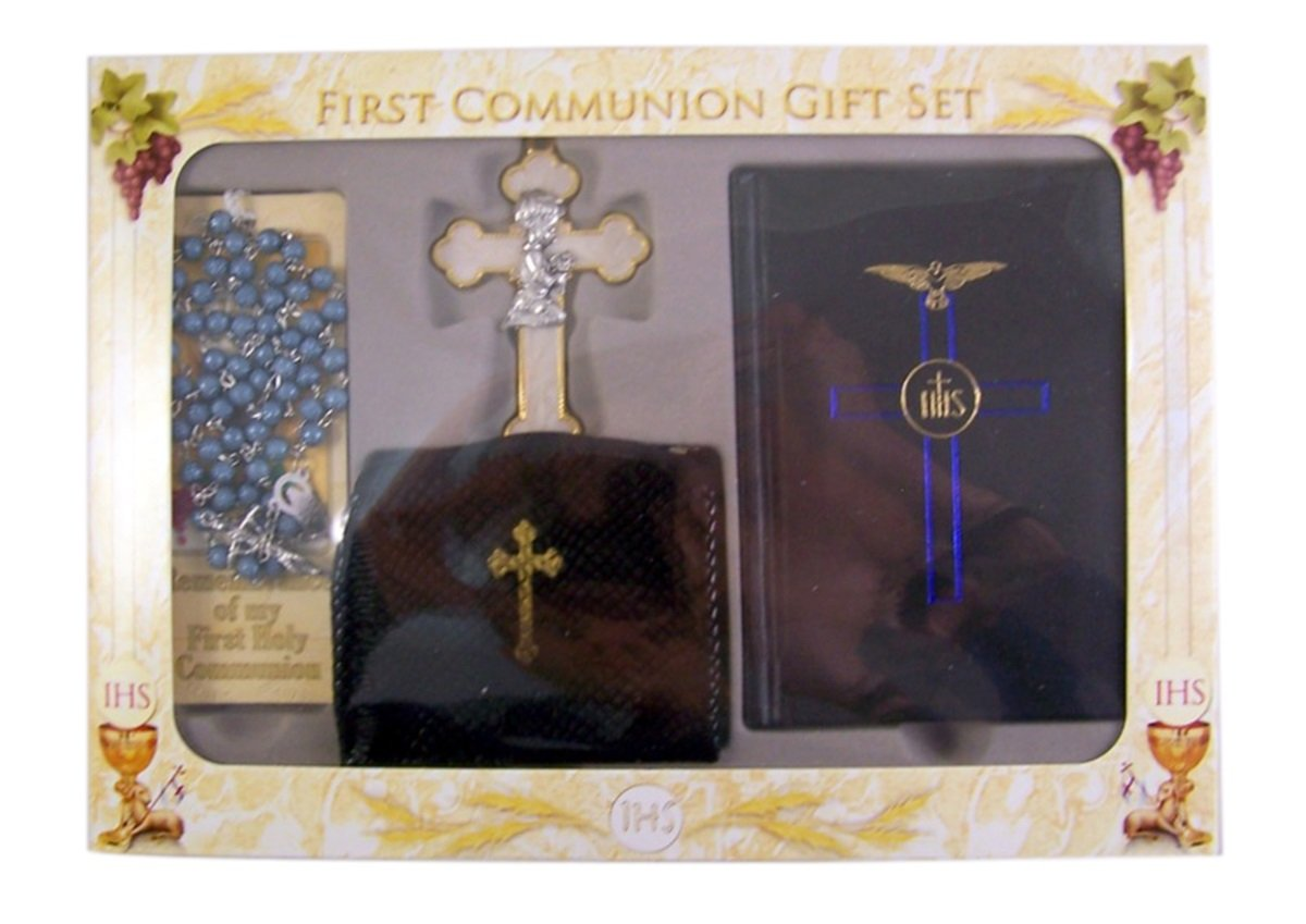 Boys First Communion Prayer Book Gift Set with Rosary, Bookmark, and Praying Boy Wall Cross