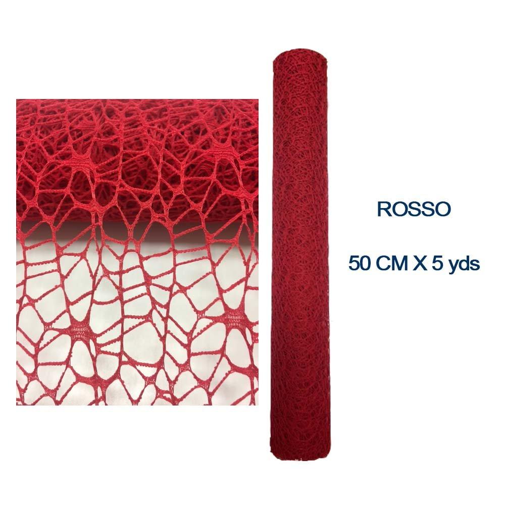 Bobina Rotolo Rete Spider per bomboniera decorazioni fiori 50 cm x 5 yds Red - Rosso Korea
