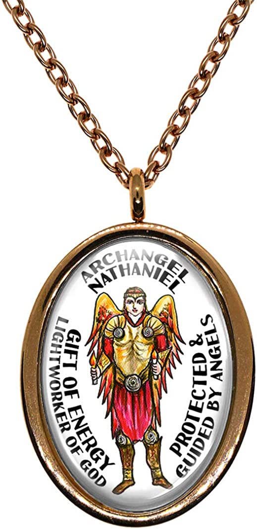 My Altar Archangel Nathaniel Gift of Energy Lightworker of God Protected by Angels Rose Gold Steel Pendant Necklace