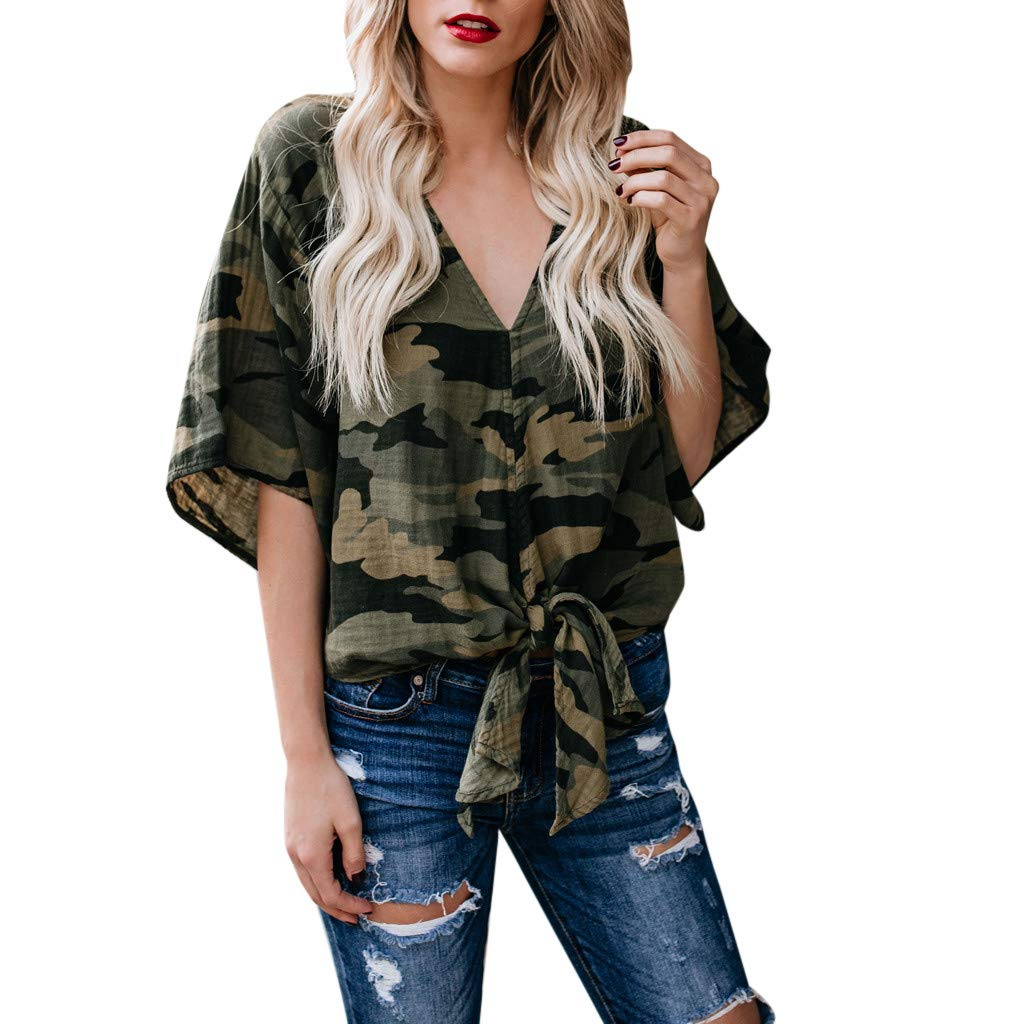 VANSOON Women Tank Tops Casual Cold Shoulder Knot Design Camouflage T-Shirts Blouse Crop Tops Vest for Teen Girl