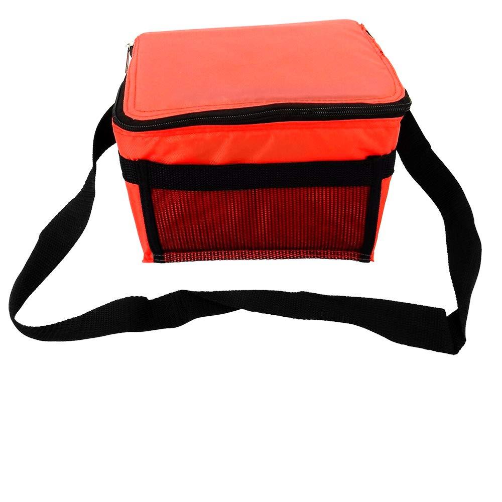 Insulated 6-Pack Cooler Tote, Shoulder Strap, Mesh Pocket, PL-3278 – Red.
