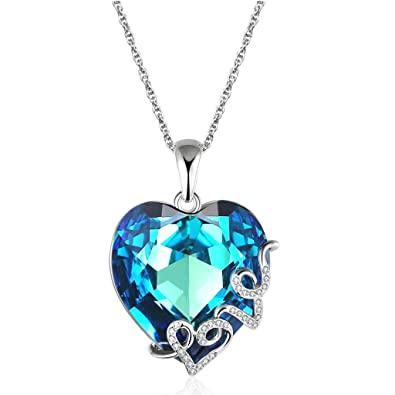 Amazon lelekiss heart of the ocean blue swarovski crystal lelekiss quotheart of the oceanquot blue swarovski crystal love heart pendant necklace for mozeypictures Images