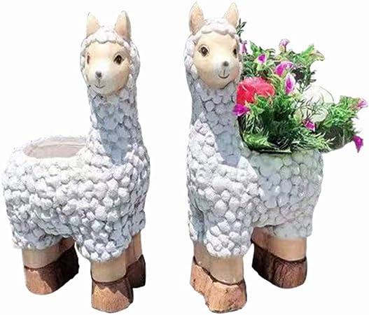 Estatuas de jardín Decoración de jardín un par de Adornos de Alpaca Resina Maceta Escultura Patio césped paisajismo (Color : Blanco, Size : 29 * 19 * 46cm): Amazon.es: Hogar