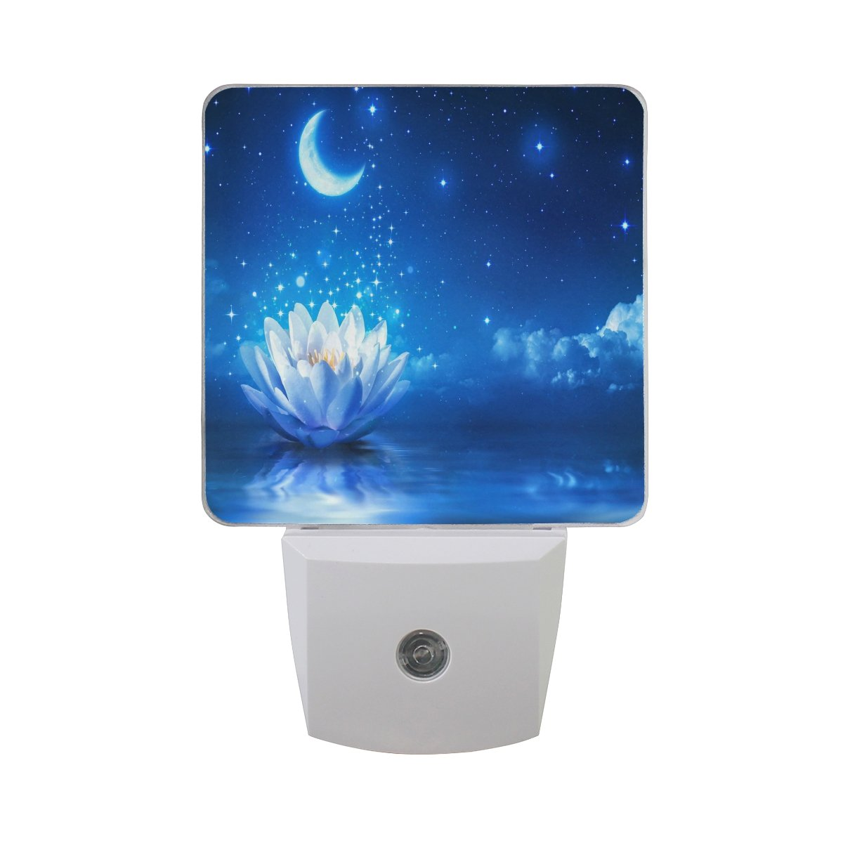 AlazaフローラルフラワーWaterlily Starry LED Night Light Dusk to Dawnセンサープラグin Night Home Decorデスクランプfor Adult B07BVD5S55 13554