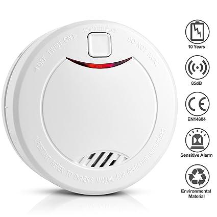 Detector de Humo con Batería Interior de 10 Años, Alarma de Humo con Sensor Fotoeléctrico