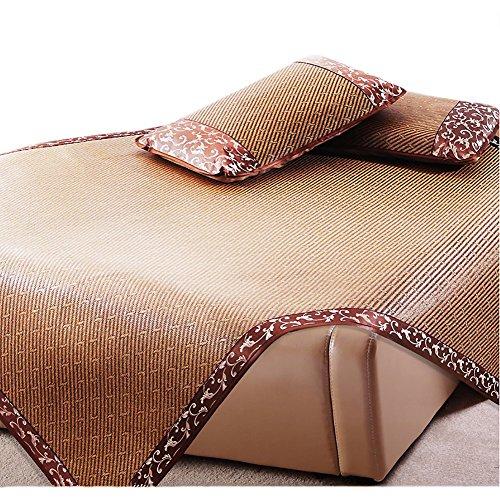 Rattan Bedding Set - Summer sleeping mat, 3 sets Pillowcase Double-sided rattan seat Summer ice seat Bamboo Folding Ultra soft cool bedding King-A 180x200cm(71x79inch)