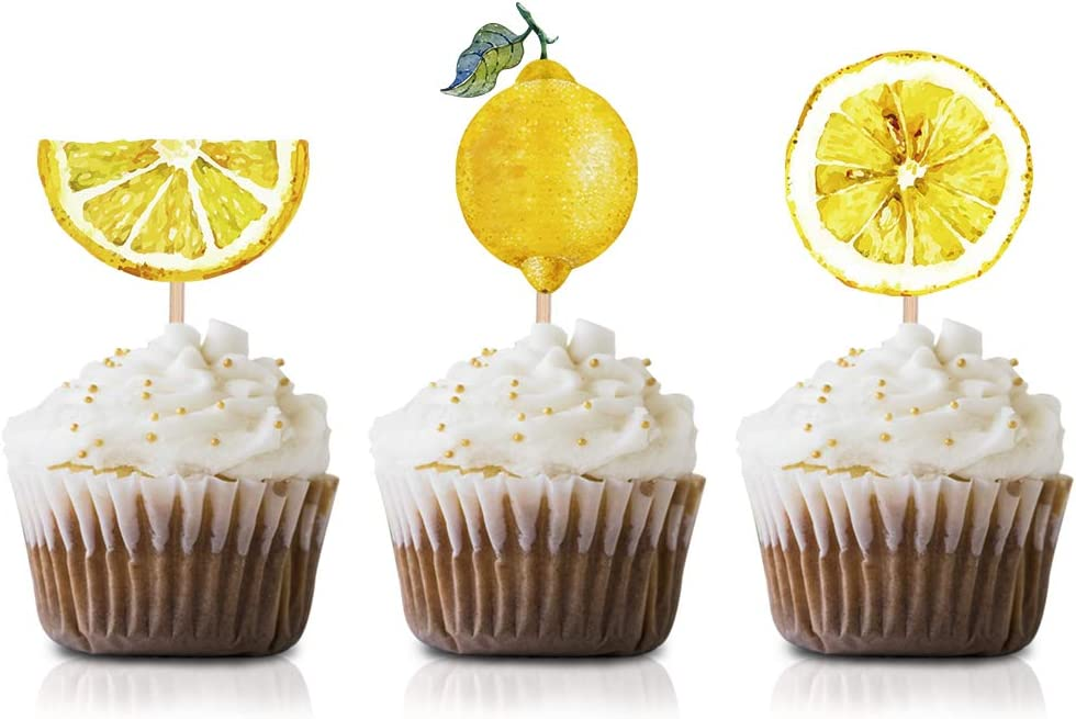 Lemon fruit Party Cupcake Topper Picks, 24-Pack Yellow Lemon Summer Birthday Party Supply Decorations