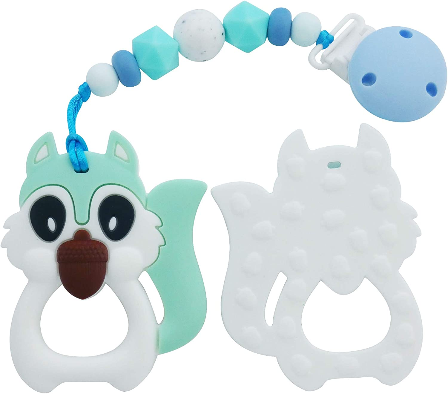 Natural White Mint for Boys /& Girls Soothing Teething Relief Instant Kute Keiki Squirrel Silicone Baby Teether Toy with Pacifier Clip Non-Toxic /& BPA Free Freezer /& Dishwasher Safe