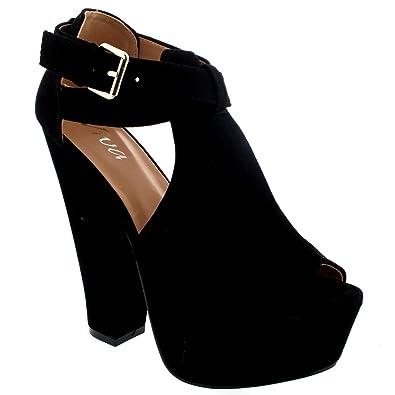 Amazon.com | Womens Faux Suede Pumps Platform Peep Toe Dress ...