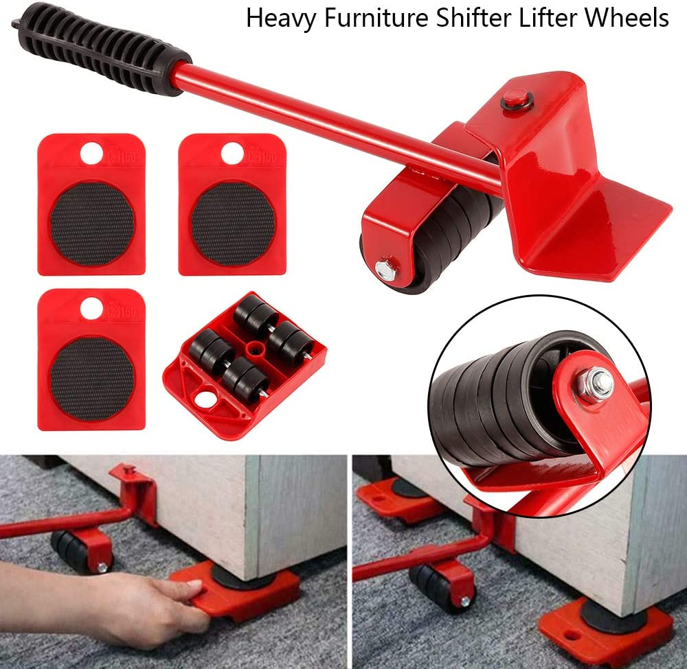 5PCS Furniture Sliders Heavy Furniture Shifter Moving Wheels Kit Moving Roller Kit Mover Tool Set Maximum Load Weight 150KG Furniture Transport Set
