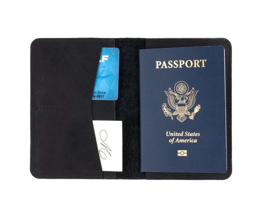 SLATE COLLECTION Sand Point Passport Holder, Full-grain Leather (Midnight) by SLATE COLLECTION