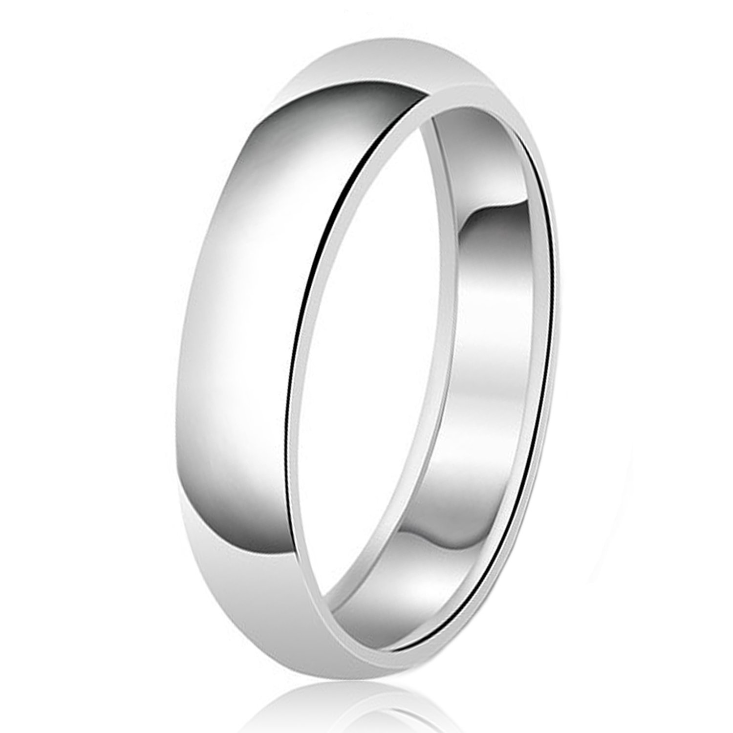 6mm Classic Sterling Silver Plain Wedding Band Ring, Size 10
