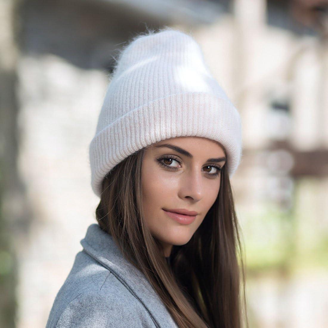 GWELL Femme Bonnet Tricot/é Chapeau Polaire Chaud Hiver en Coton Cachemire et Angora Fourrure de Lapin
