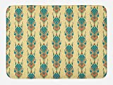 Lunarable Aztec Bath Mat, Tribal Vintage Pattern with Mexican Culture Inspired Design Colorful Shapes, Plush Bathroom Decor Mat with Non Slip Backing, 29.5 W X 17.5 W Inches, Petrol Blue Peach